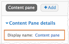 Screenshot of the Display name field. Content pane is selected.