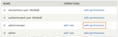 Screenshot of the Roles page with Edit Permissions highlighted.