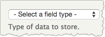 Screenshot of the field type drop-down menu.