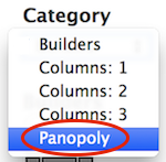 Screenshot of the Category drop-down menu. Options include Builders, Columns: 1, Columns: 2, Columns: 3, and Panopoly. Panopoly is highlighted.