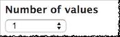 Screenshot of the Number of values drop-down menu.