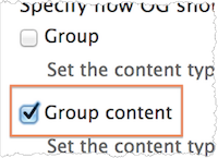 Organic Groups settings for Add Content Type. Group content is selected.