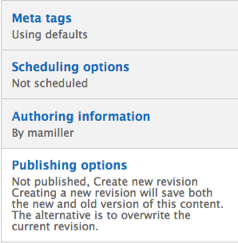Drupal Content sub-menu. Content sub-menu includes Meta tags, Scheduling options, Authoring information, and Publish options. Publishing options is highlighted.