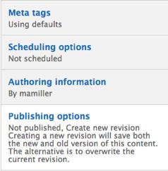 Drupal Content sub-menu. Content sub-menu includes Meta tags, Scheduling options, Authoring information, and Publish options. Publishing options is highlighted.