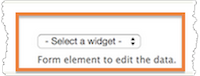 Add an existing field. The Select a widget drop-down menu is highlighted.