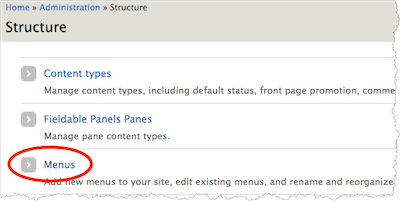 Drupal structure menu. Menus is highlighted.