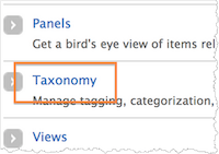 Screenshot of the Taxonomy link on the Structure page.