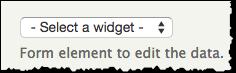 Screenshot of the Select a widget drop-down menu.