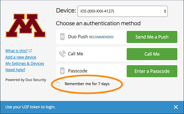 Duo Sign In screen with the Remember me for 7 days checkbox highlighted