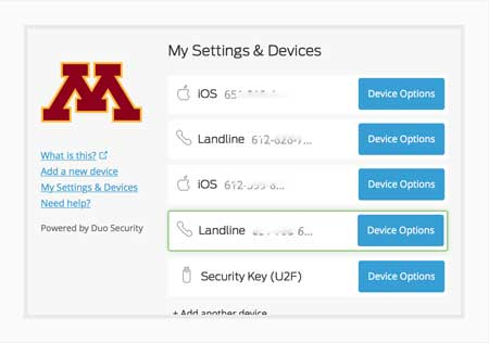 The My Settings and Device list shows all devices you've enrolled in Duo Security