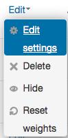 Category Edit menu with Edit settings selected.