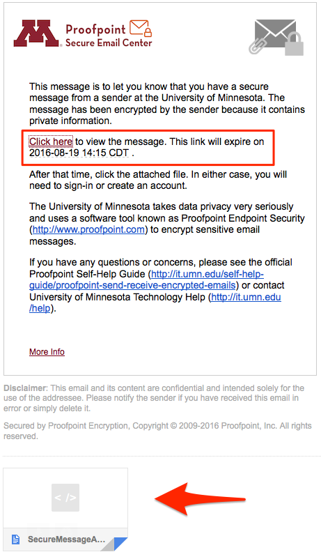 """Sample notification message. Highlighted are the """"Click here"""" link with expiration date text. The SecureMessageAtt.html attachment is also highlighted."""