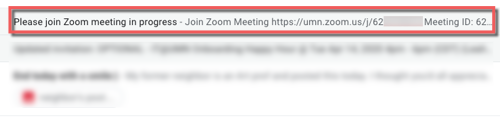 Gmail inbox. Please join zoom meeting. Preview shows meeting details and partial join link.
