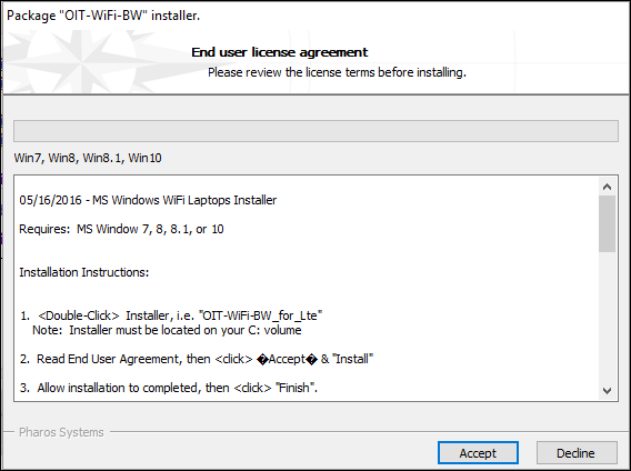 "The end user license agreement on the installer. There are two buttons listing ""Accept"" and ""Decline""."