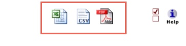 Icons on top right of report with options to Save to Excel, Save to CSV, and Save to PDF