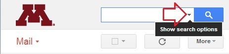 Gmail search box with arrow pointing to Show Search Options menu