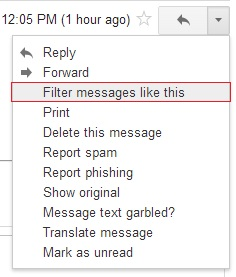 """More menu opened with """"Filter messages like this"""" highlighted"""