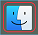 Mac OSX Finder Icon, located in the dock.