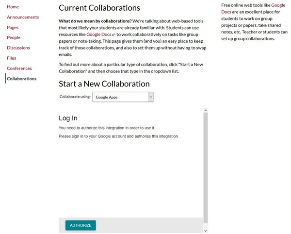 current collaborations page, start a new collaboration with authorize button