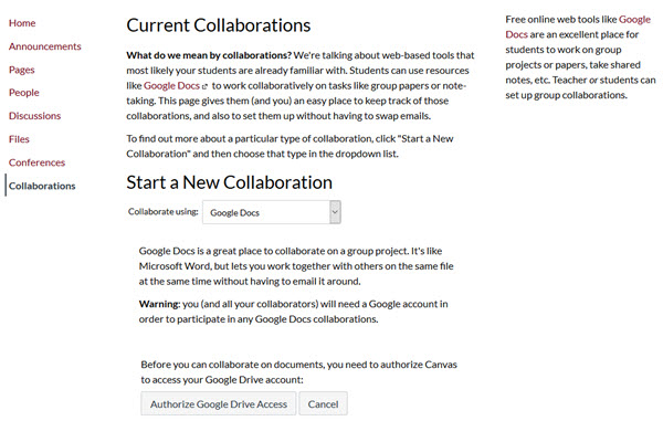 current collaborations page, start new collaboration section, authorize google drive access and cancel buttons