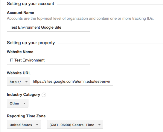 Google Analytics account setup window showing Website Name, Website URL and Reporting Time Zone.