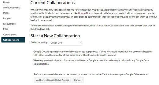 Start Collaboration window; collaborate using drop-down menu shows Google Docs followed by info on Google Docs. Authorize Google Drive Access and Cancel buttons