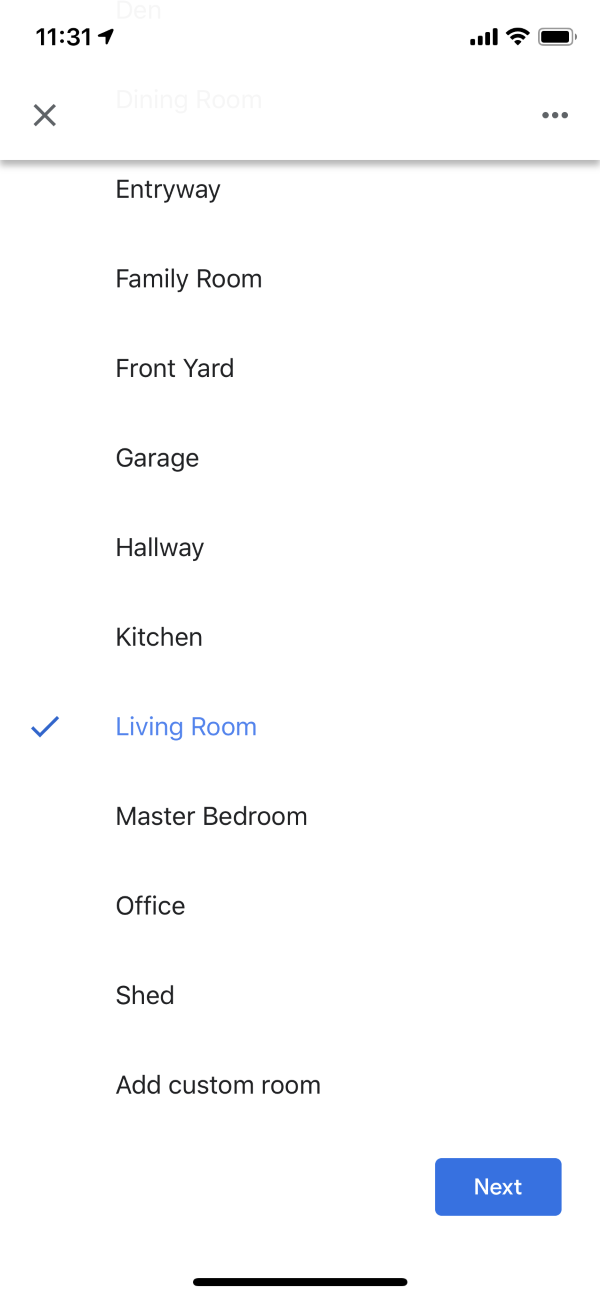 Choose a room list in the Google Home app.