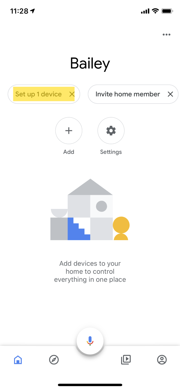 The main page of the Google Home app. The Set up 1 device button is highlighted.