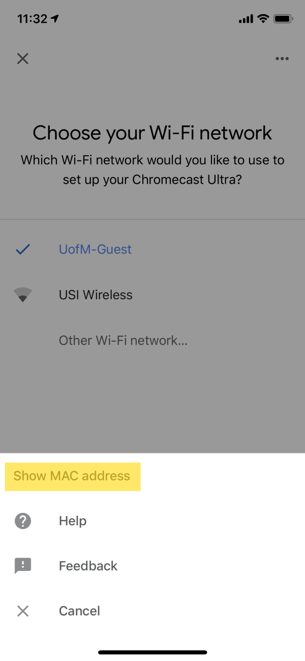 Choose your Wi-Fi network submenu in the Google Home app.