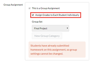 """Group Assignment settings for an assignment that has already been graded as a group: This is a Group Assignment option is checked and greyed out; Assign Grades to Each Student individually option checked and highlighted. Group Set displays a Group Set; New Group Category button is greyed out; An information box states """"Students have already submitted homework on this assignment, so group settings cannot be changed."""""""