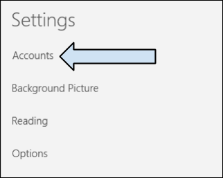 "Settings menu in Windows 10 Mail App. There is a title ""Settings"" at the top of the menu. ""Accounts"", ""Background Picture"", ""Reading"", and ""Options"" are listed. An arrow points to ""Accounts""."