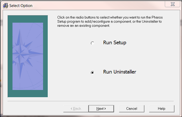 "The Select Option window. Two selectable options are available: ""Run Setup"" and ""Run Uninstaller"". ""Run Uninstaller"" is selected. There are four buttons in the window, listing ""Back"", ""Next"", ""Cancel"", and ""Help"". The ""Back"" button is greyed out."