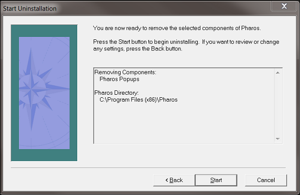 """The Start Uninstallation window. Three buttons in the window list """"Back"""", """"Start"""" and """"Cancel""""."""