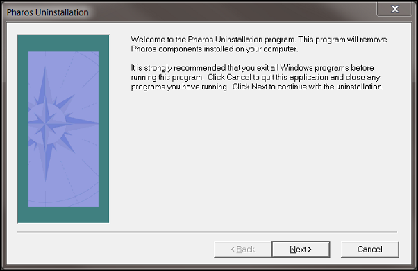 "The Pharos Uninstallation window. There are three buttons listing ""Back"", ""Next"", and ""Cancel"". The ""Back"" button is greyed out."
