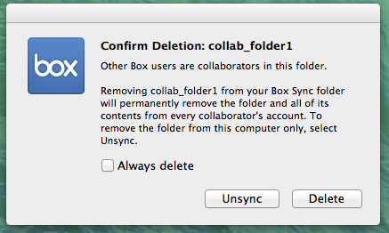 The Confirm Deletion window with options to Unsync or Delete the folder
