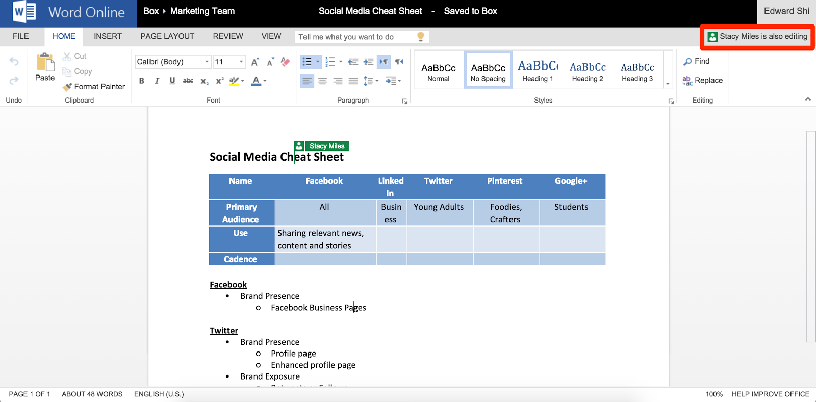 A screenshot illustrating the visuals when there are multiple people editing a Word Online document