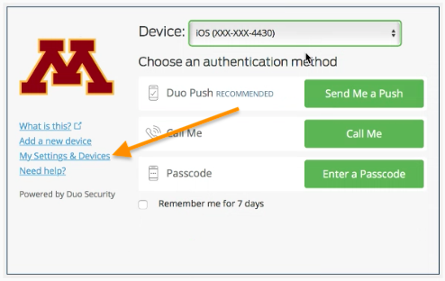 Duo Security authentication screen with My Settings & Devices highlighted