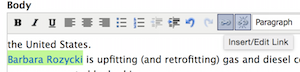 the insert/edit link toolbar button