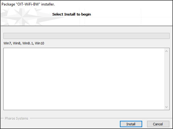 """The installation screen on the installer. An empty loading bar and text box are in the window. There are two buttons listing """"Install"""" and """"Cancel""""."""