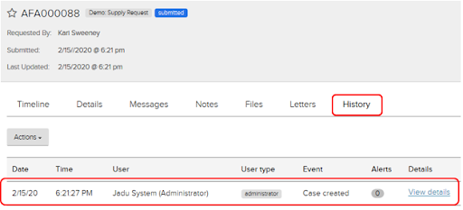 Jadu CXM case reference page. History tab. Case creation event highlighted.