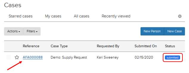 "Jadu CXM. Case reference number and status ""submitted"" highlighted."