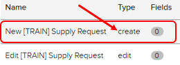 Forms tab. New [Train] supply request highlighted. Create case type highlighted.