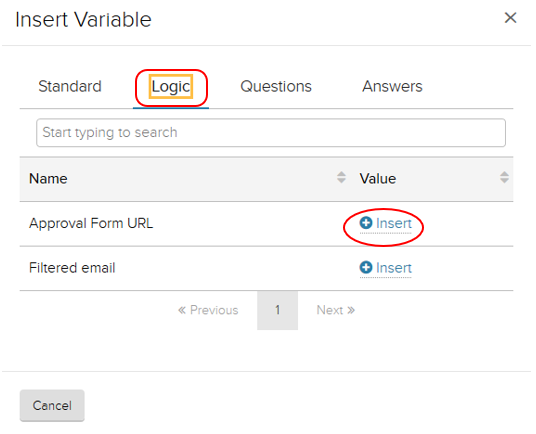 Insert variable window. Logic tab highlighted.  Insert highlighted under value column, to the right of example Next form URL title.