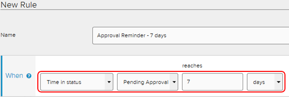 "CXM rules tab. Sample rule name ""Approval reminder - 7 days"". When time in status pending approval reaches 7 days"