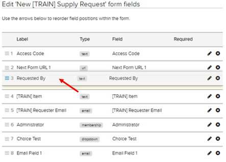 Jadu CXM option to reorder fields highlighted.