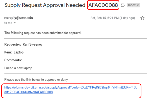 Example email sent using XFP template. Case reference number in the subject line and URL link in the email body highlighted.