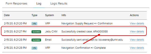 Jadu XFP Received forms tab, log section. Example case reference number open. Success status highlighted with an arrow pointing out CXM case number.