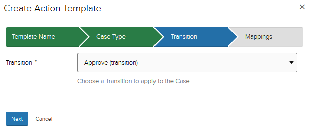 Create template, transition section with Approve (transition) selected from dropdown