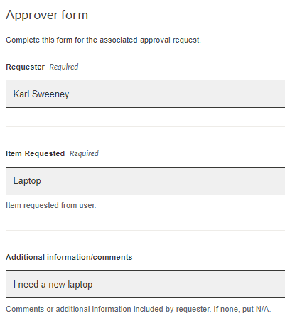Sample subsequent form with fields from first form automatically complete
