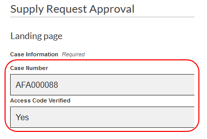 Sample landing page with completed CXM case number field and access code verified highlighted.